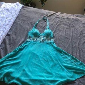 Turquoise Halter Silk/Beaded dress